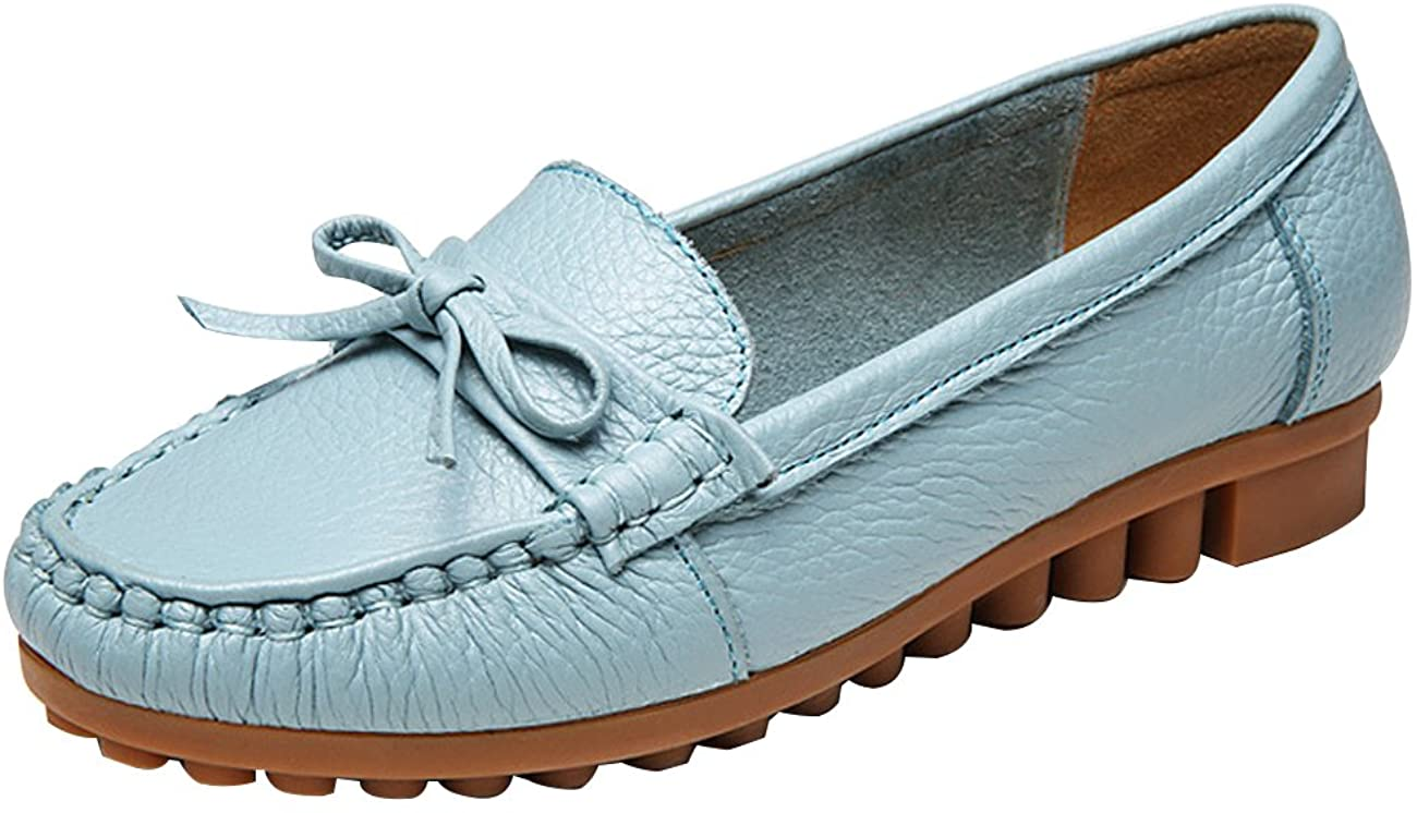 Zoulee Loafers for Women: Genuine Leather Slip-On Grand Street Fashion Driving Moccasins Flats