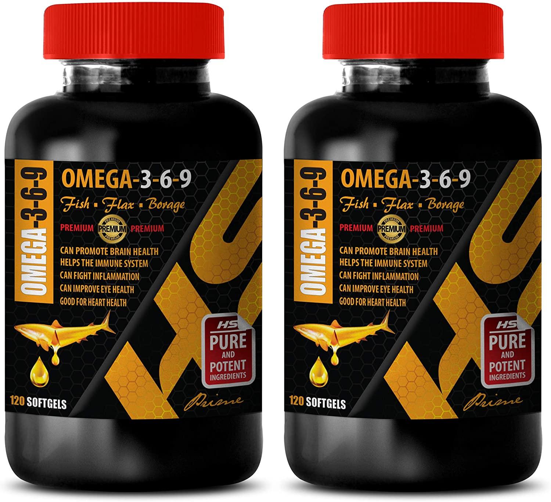 Heart Health Supplements - Omega 3-6-9 Premium Complex with Fish, Flax & Borage - Omega 3 6 9 Vitamins - 2 Bottles 240 Softgels