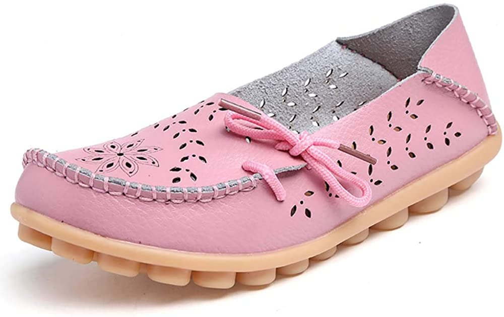 Women Flat Shoes Loafers Leather Casual Moccasins Soft Sole Shoes for Driving Walking