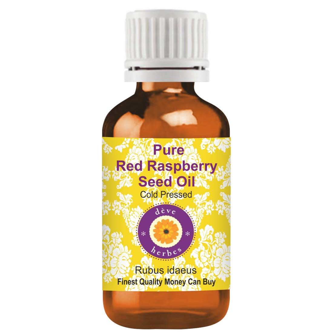 Deve Herbes Pure Red Raspberry Seed Oil (Rubus idaeus) 100% Natural Therapeutic Grade Cold Pressed 200ml (6.76 oz)