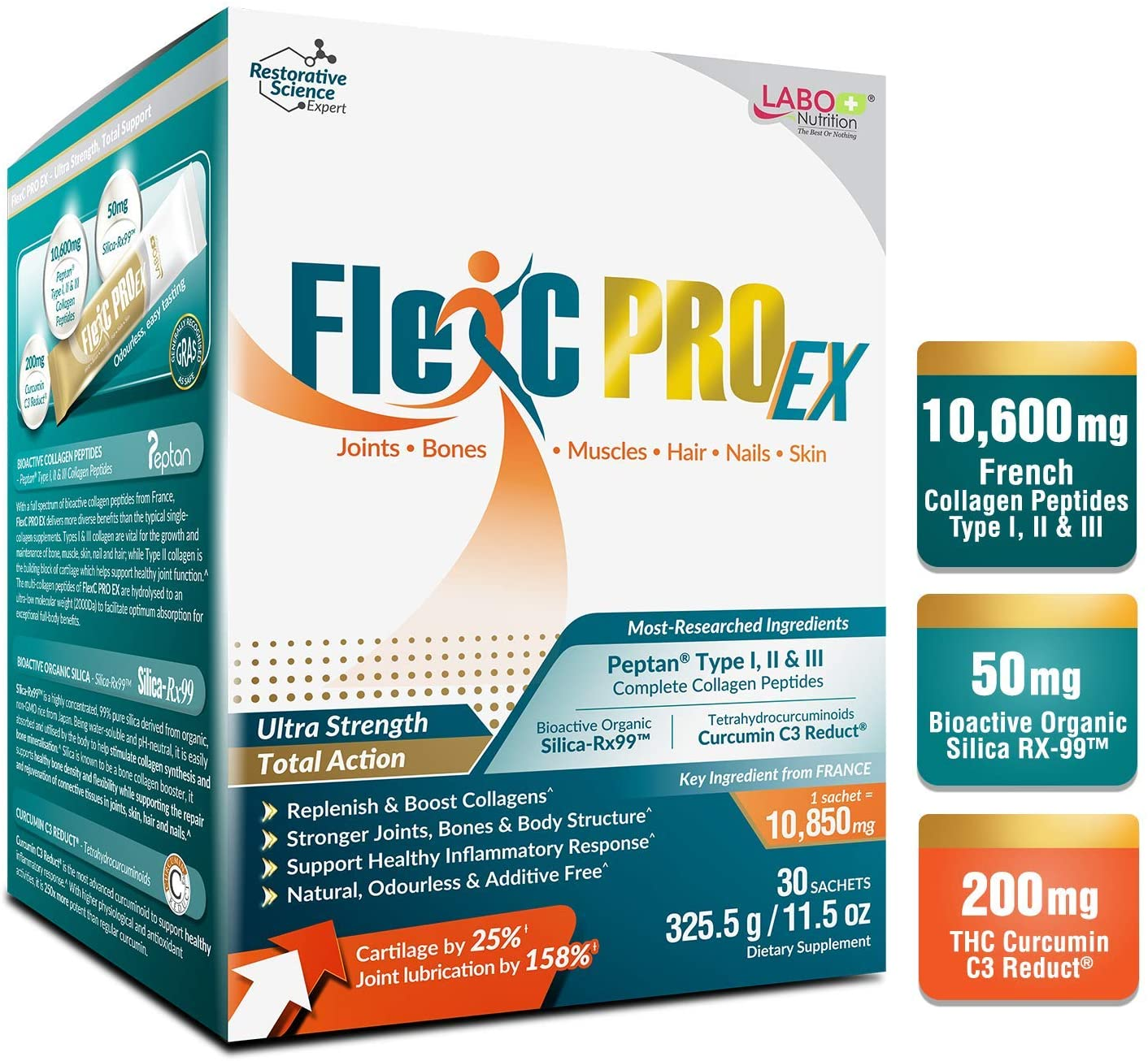 LABO Nutrition FlexC PRO EX with Peptan Type I, II & III Collagen Peptide, Organic Water Soluble Silica and Curcumin C3 Reduct, for Joint, Bones, Muscles, Nails, Skin Health, Unflavored, No Additives