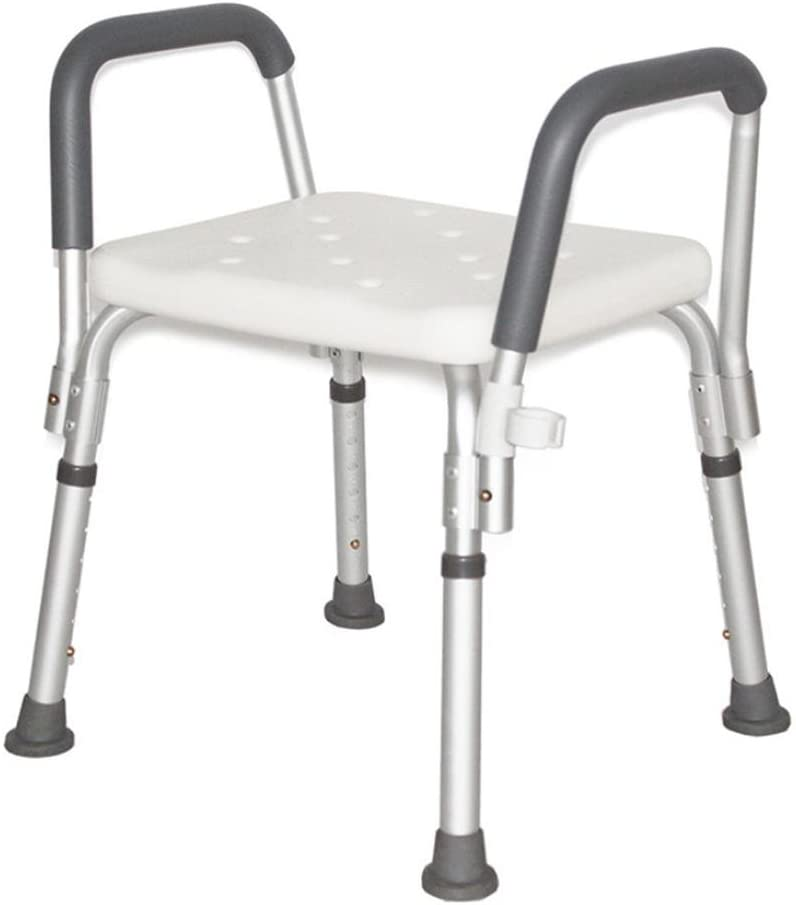 LUCKYYAN YC5200 Adjustable Bath and Shower Chair with Armrests/Anti-Slip Bench Bathtub Stool Seat with Aluminum Legs
