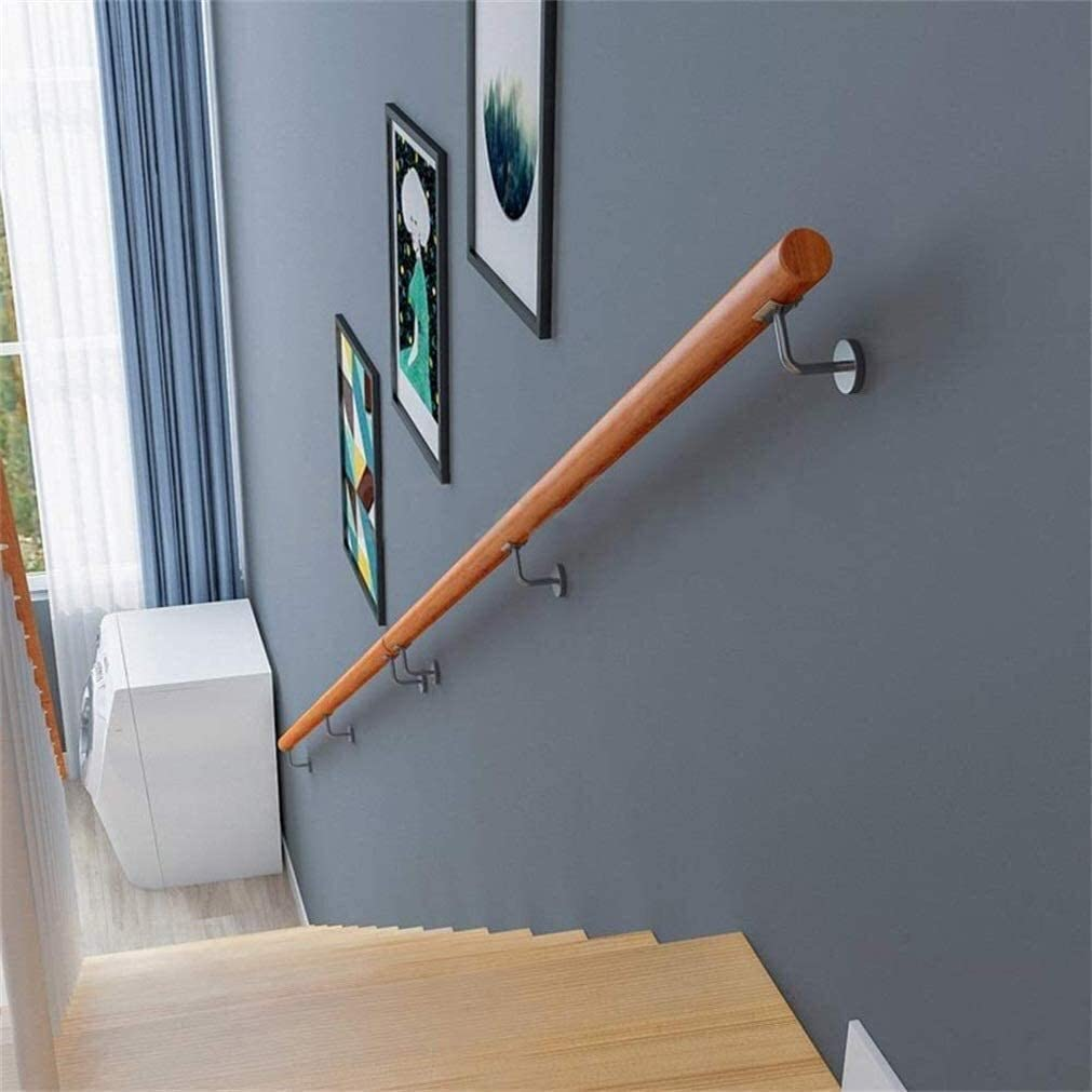 Home Against The Wall Indoor Loft Elderly Non-Slip Round Solid Wood Railings Handrails, Corridor Support Rod Anti-Slip Wall Safety Railing Handrail - Complete Kit 0703 (Size : 100cm)