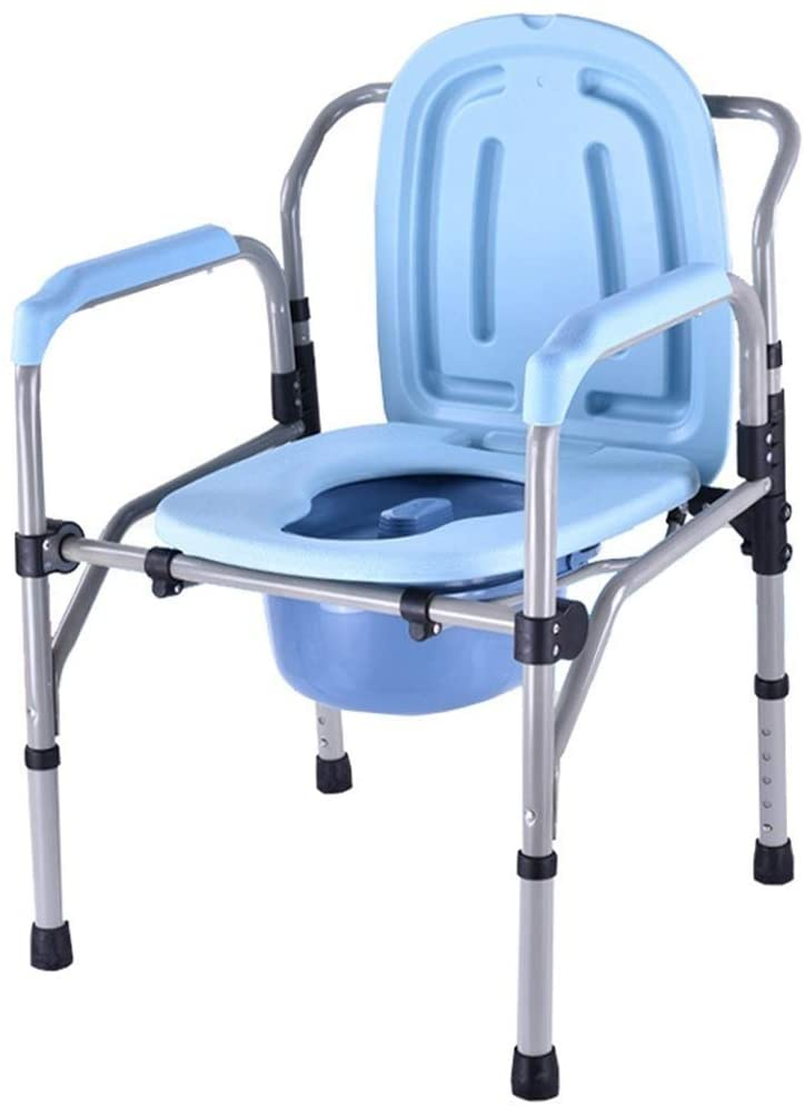 XQY Medical Bedside Commodes,Portable Bedside Commode Height Adjustable Potty Chair Folding Toilet Commode Chair with Safety Frame Rails for The Elderly Disabled People Pregnant Women