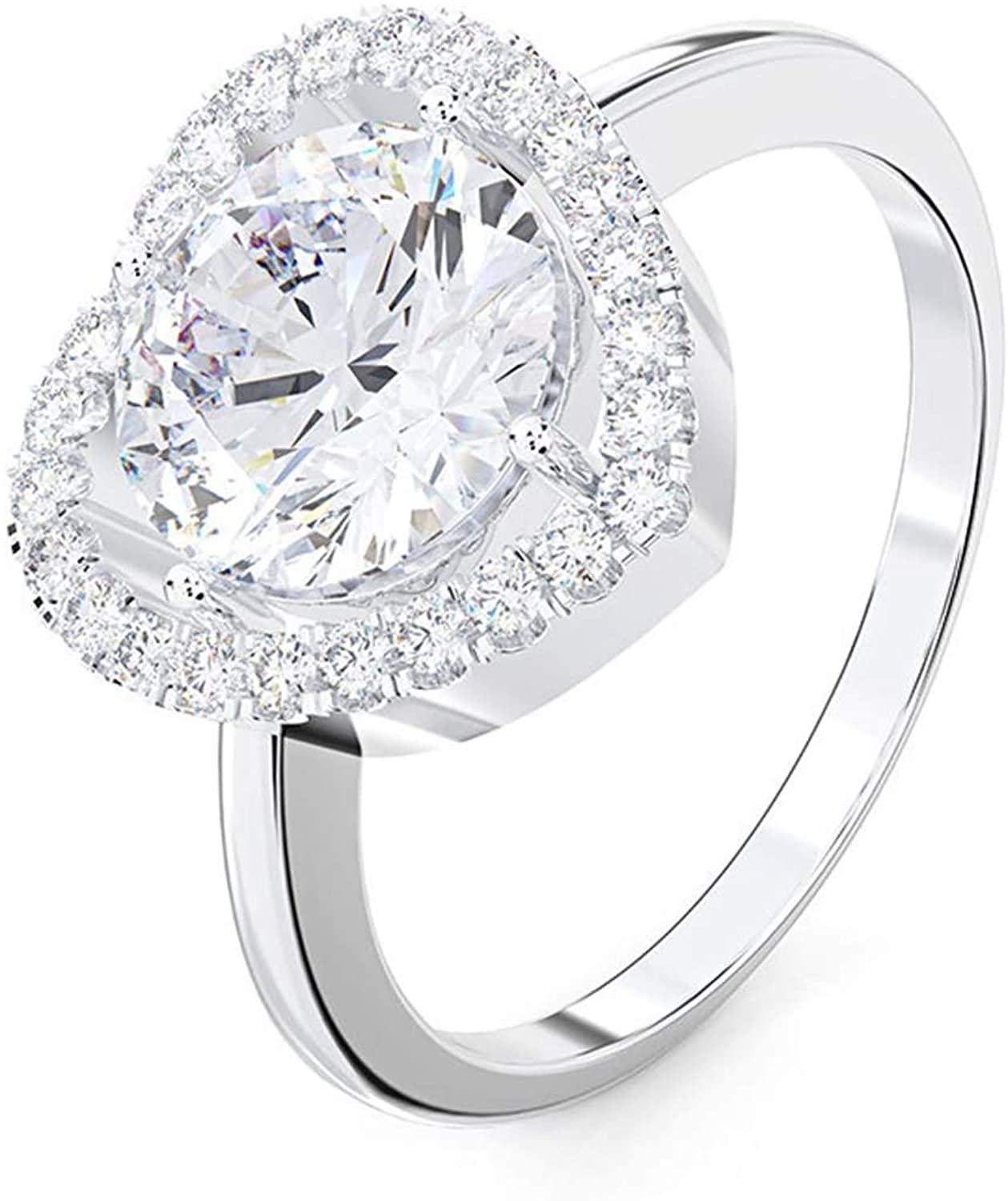 AMDXD 925 Sterling Silver Rings Engagement Heart Shape Cubic Zirconia Promise Ring Band