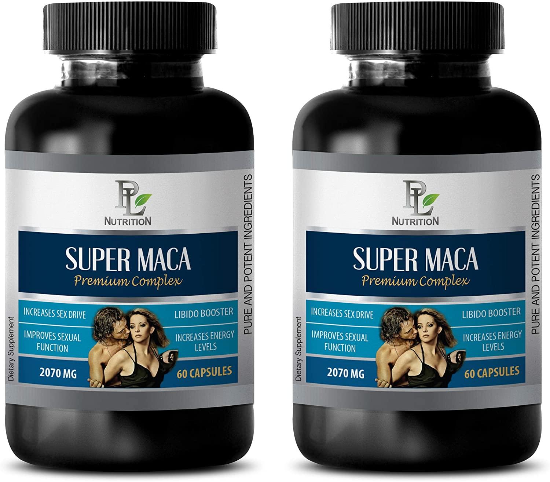 Men Sexual Performance Enhancement - Super MACA - Premium Complex 2070MG - LIBIDO Booster - maca Root Capsules for Men - 2 Bottles 120 Capsules