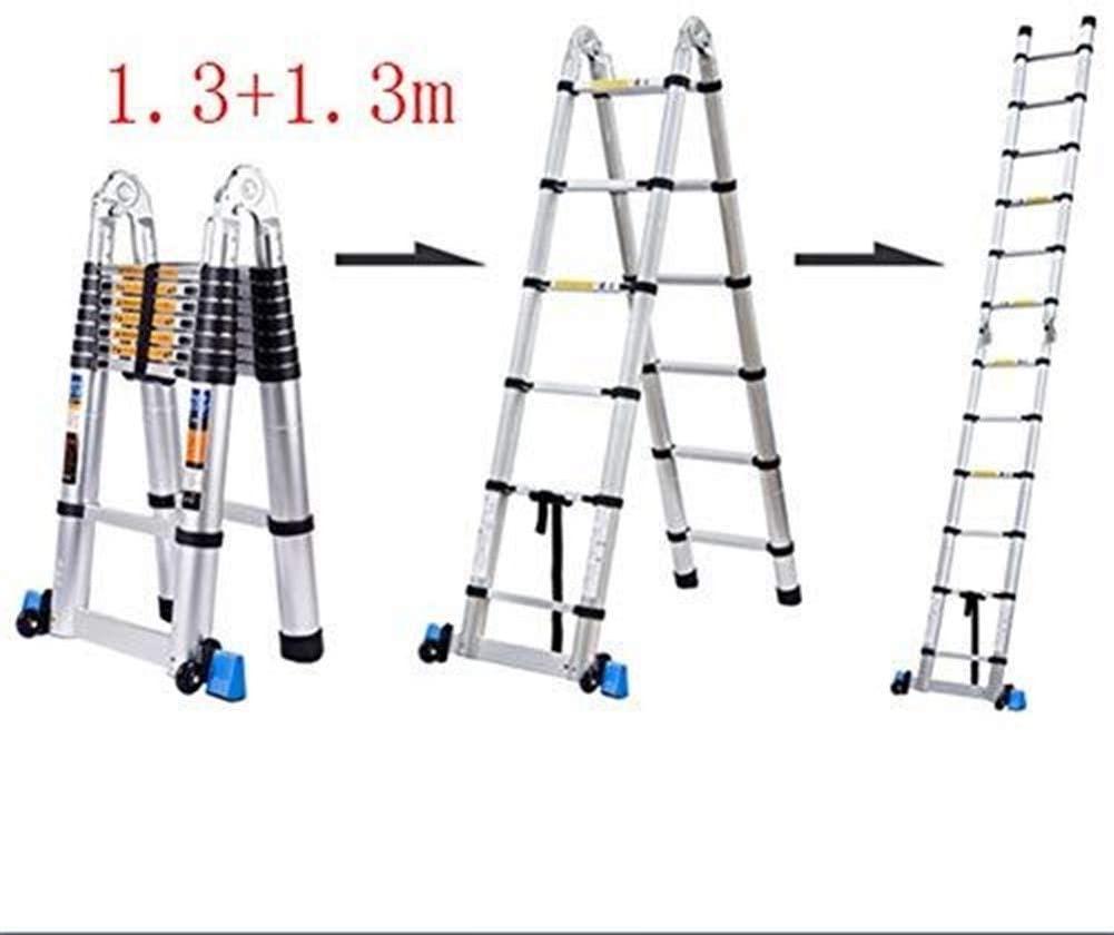 LADDERS Ladders Multi-Function Telescopic Folding, Aluminum Type a/Straight, in Line with En131 Standard, Bearing 150Kg / 330Lb