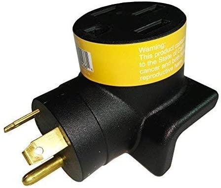 Parkworld 691661 RV Adapter 30A TT-30P male plug to 50A 14-50R female receptacle, right angle (FOR RV ONLY, NOT FOR EV)