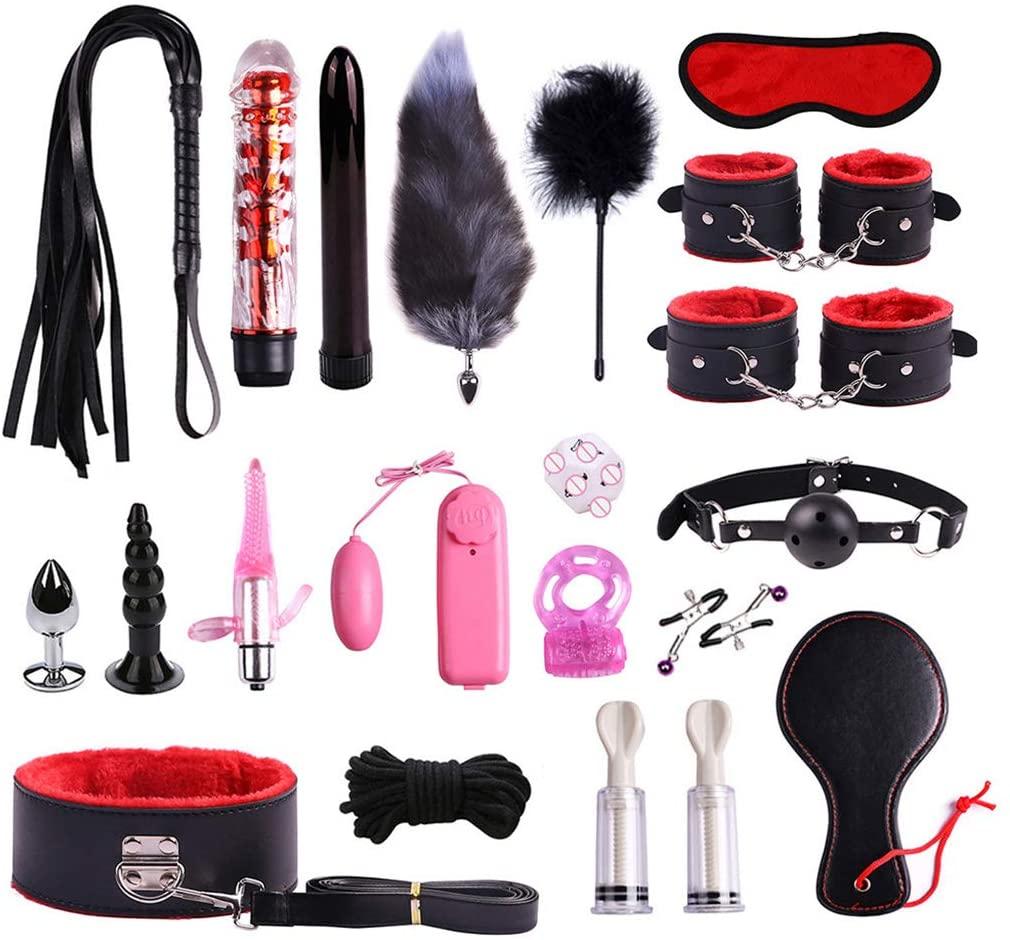 XANGLO 1Set BDS-M Restraint Fetish Collar Handcuff Bondage Whip Vǐbrǎtor Nípplě Sucker Ḋilḍọ Ring Kit Ǎd-ULT Ṡěx Tǒys for Women