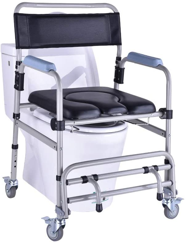 4 in 1 Self Propelled Wheeled Shower Commode Chair, Bathroom Bath Stool, Commode Chair, for Bathroom Toilet Stool Elderly Disabled Person, 4 Wheel Brakes(360°), for Elderly Disabled Person