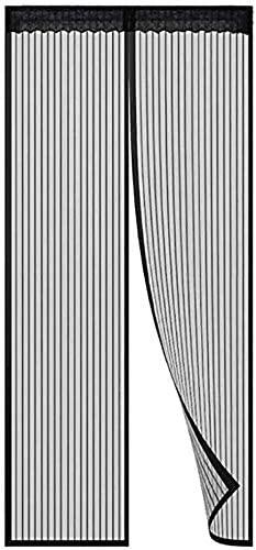 NJYT Fly Screen Door Curtains Super Quiet Magnet Mosquito Net Curtains Magnetic Screen Door for French Doors Black 95 x 220cm