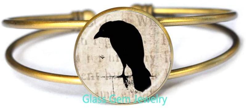 Raven Bangle-Glass Bangle-Black Crow Bangle-Raven Glass Bangle,Q0291
