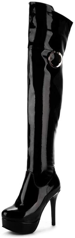 FCXBQ Patent Leather Over-The-Knee Boots, High-Heeled Large Size Side Zipper High Boots Waterproof Platform Round Head Anti-Skid Thigh Stretch Boots Comfortable Ladies Cotton Shoes