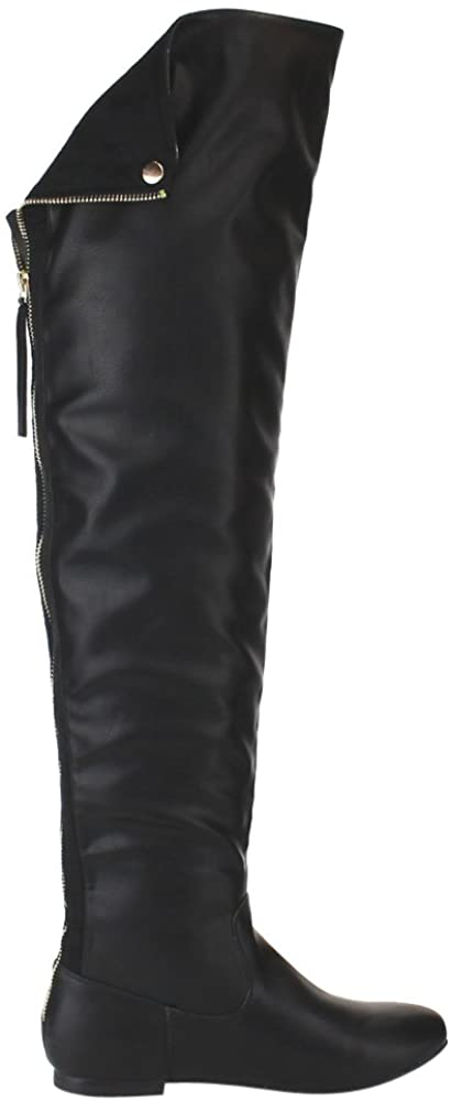 Nature Breeze Women Leatherette Thigh High Hind Zipper Flat Boot FH72