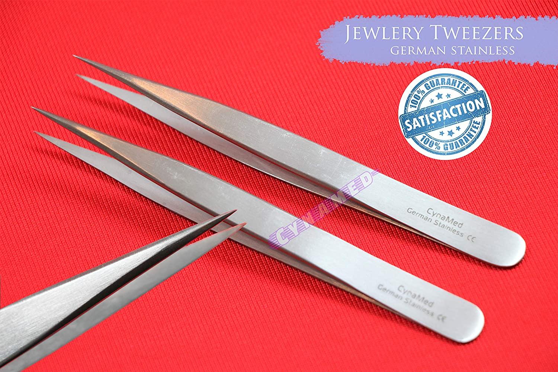 German Stainless Jewelry Forceps Fine Tip Repairment Tweezers Pair 2 ea Splinter Tweezers Cynamed
