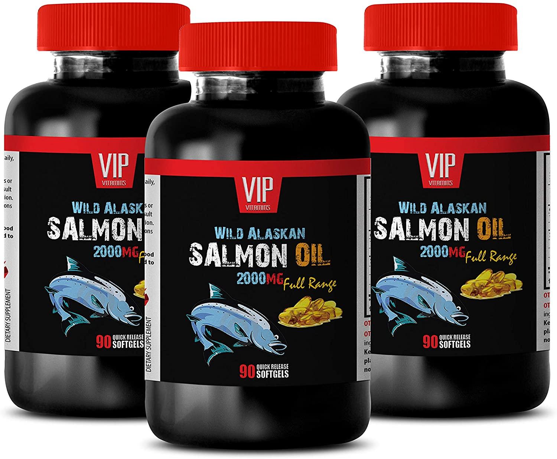 Support Brain Function - Wild Alaskan Salmon Oil 2000 - Omega 3 Triple Strength - 3 Bottles 270 Softgels