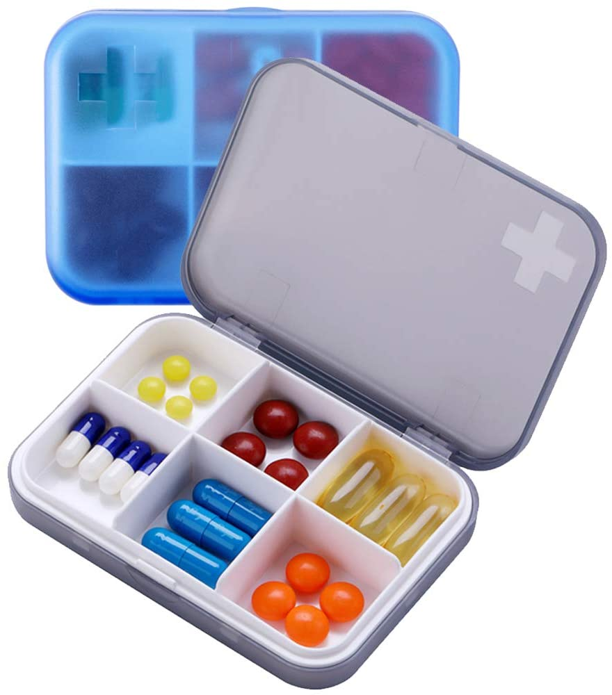 2PCS Portable Travel Pill Organizer Case for Pocket or Purse Cute Small Daily High Quality Pill Box Blue+ Grey(6 Compartments)