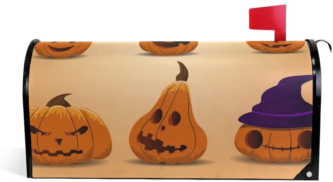 Huakz Halloween Mailbox Covers Magnetic Cute Pumpkin Headgear Mail Wraps Cover Letter Post Box 25.5x21 inch Phantom Magic Cap