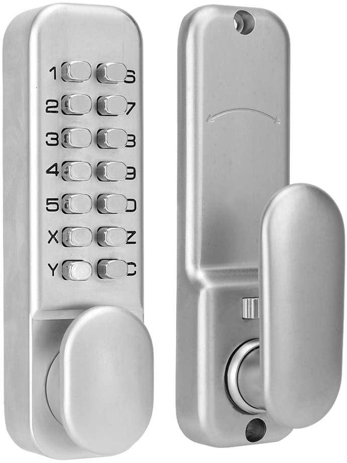 Digital Mechanical Password Door Lock, Sliding Door Password Lock 1-11 Digit Combination Door Latch for Kitchen Balcony Push Button Keypad Door Lock Knob for Home Security (#2)