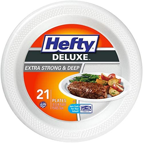 Hefty Deluxe Large Round Foam Party Plates, 8 Pack 21 (168 Total)