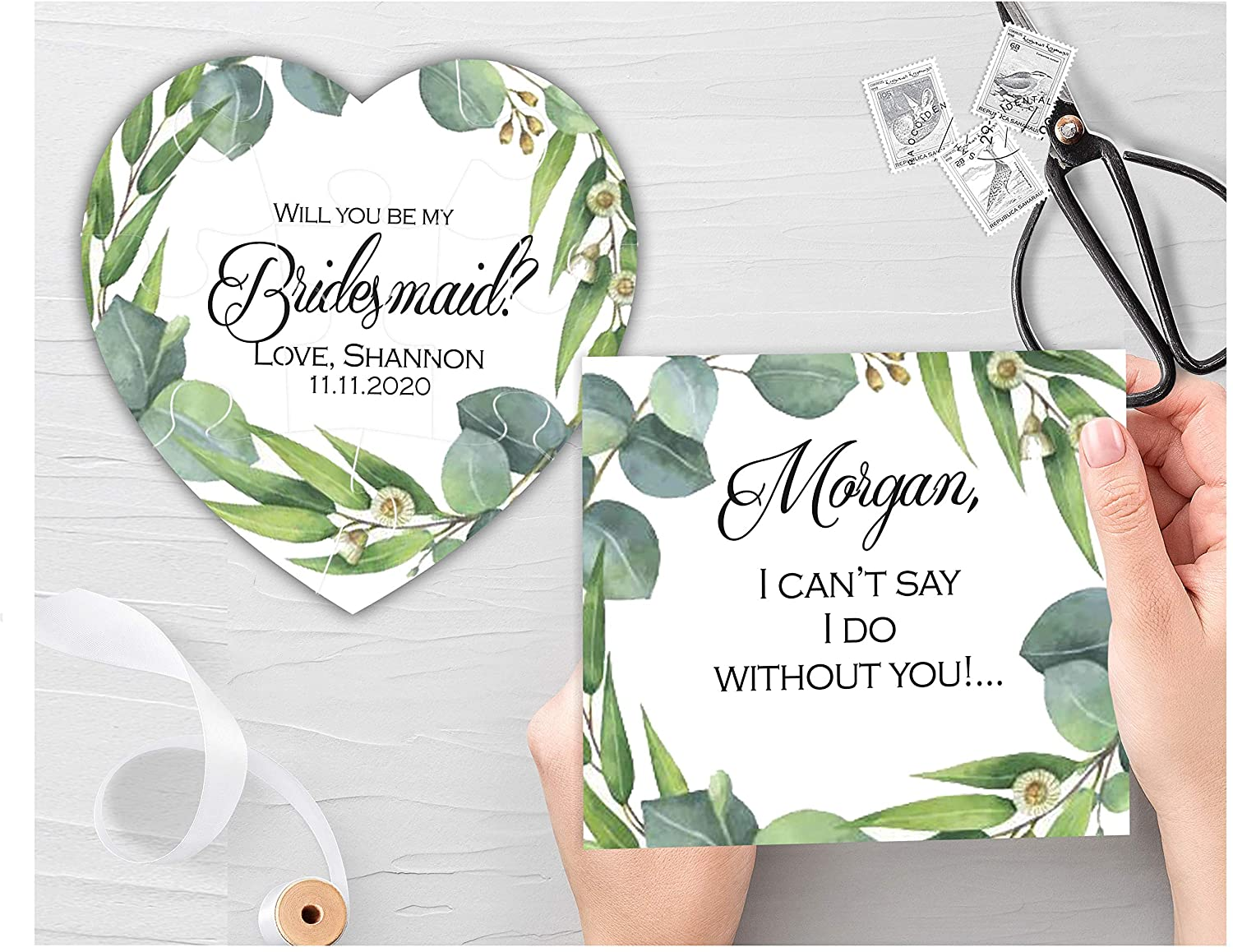 Greenery Will You be My Bridesmaid Card & Puzzle Personalized Invitation, Handmade
