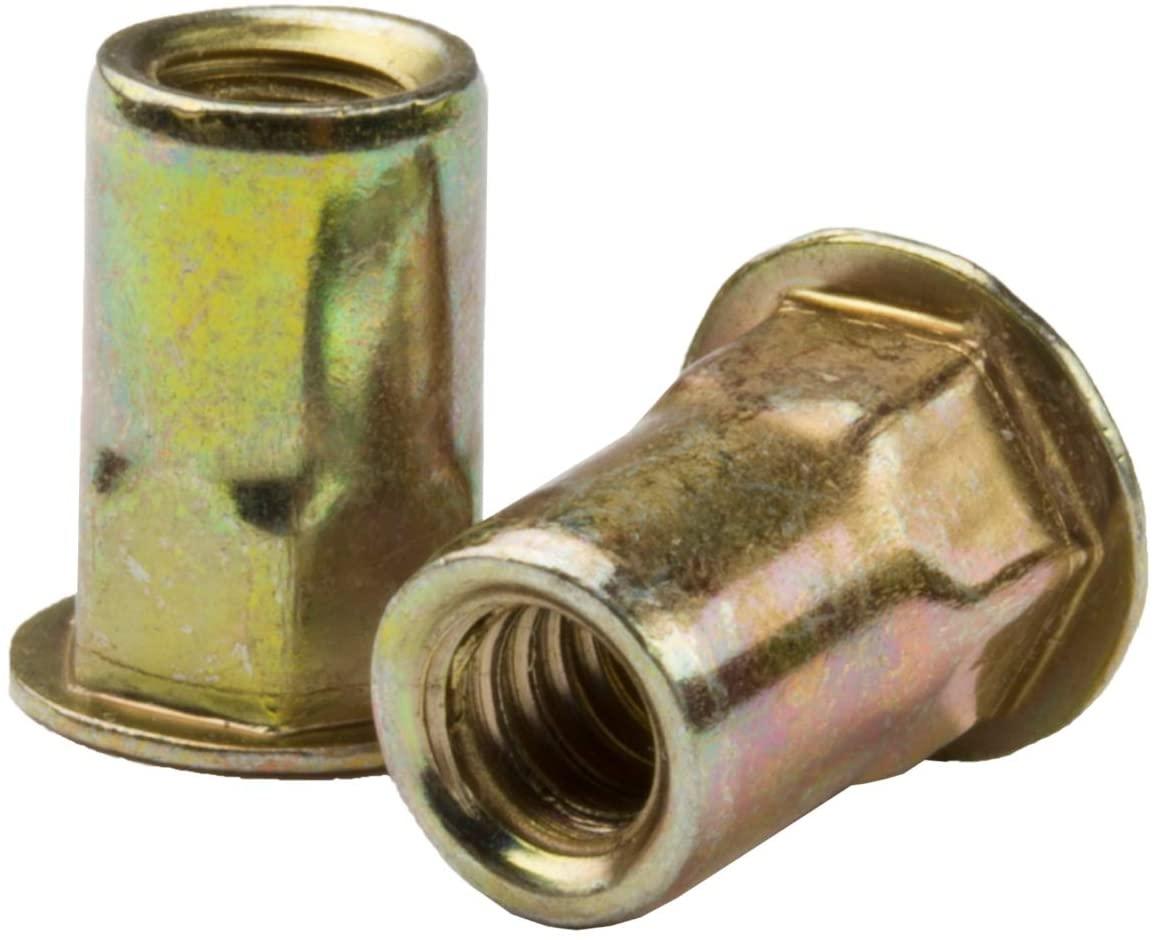 AEHS8-428-260, RIVETNUT, 1/4-28 (.165-.260 GR) Semi-Hex Body, Low PRO HD, Steel, Zinc YLW (100 PK)
