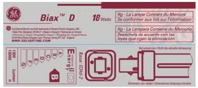 G E Lighting 97579 18-Watt CFL Plug In 2 Pin Double Biax Bulb - Quantity 10