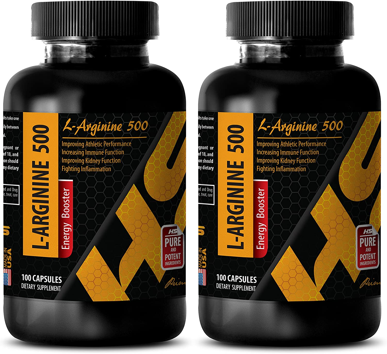 Increase Muscle and gain Weight - L-ARGININE 500 - L-arginine Made in USA - 2 Bottles 200 Capsules