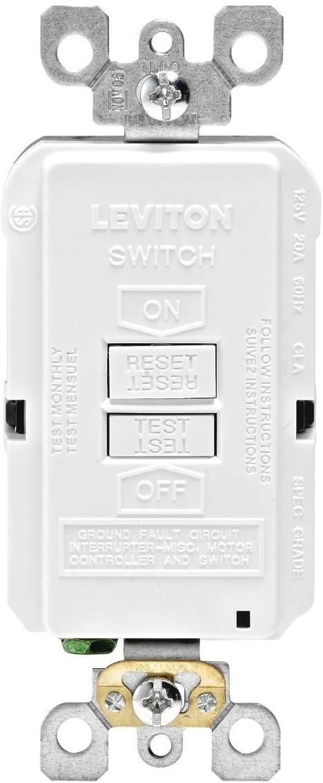 Leviton GFRBF-W Self-Test Smartlockpro Slim Blank Face GFCI Receptacle with LED Indicator, 20 Amp, 10 Pack, White