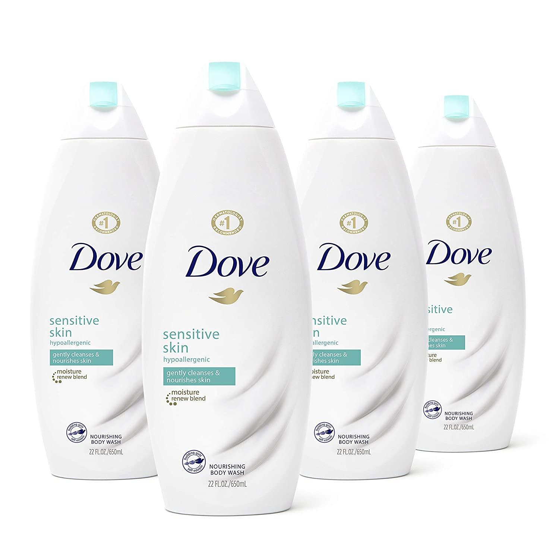Dove Body Wash Nourishing Sensitive Skin Sulfate Free and Hypoallergenic 22 oz, 4 count