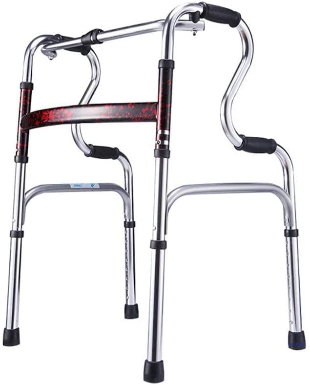 HTLLT Walking Aid Medical Instruments Walker Aluminum Alloy Seniors Height Adjustable Lightweight Walker Rotating Wheel Red Walker,a