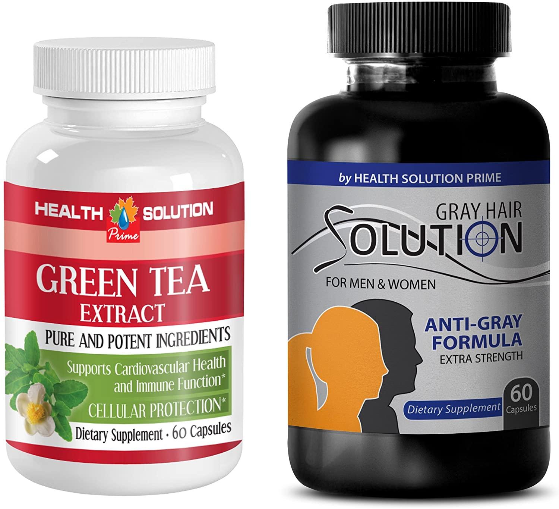 antioxidant Health - Green Tea - Gray Hair - Combo - Nettle Hair Loss - (2 Bottles Combo)
