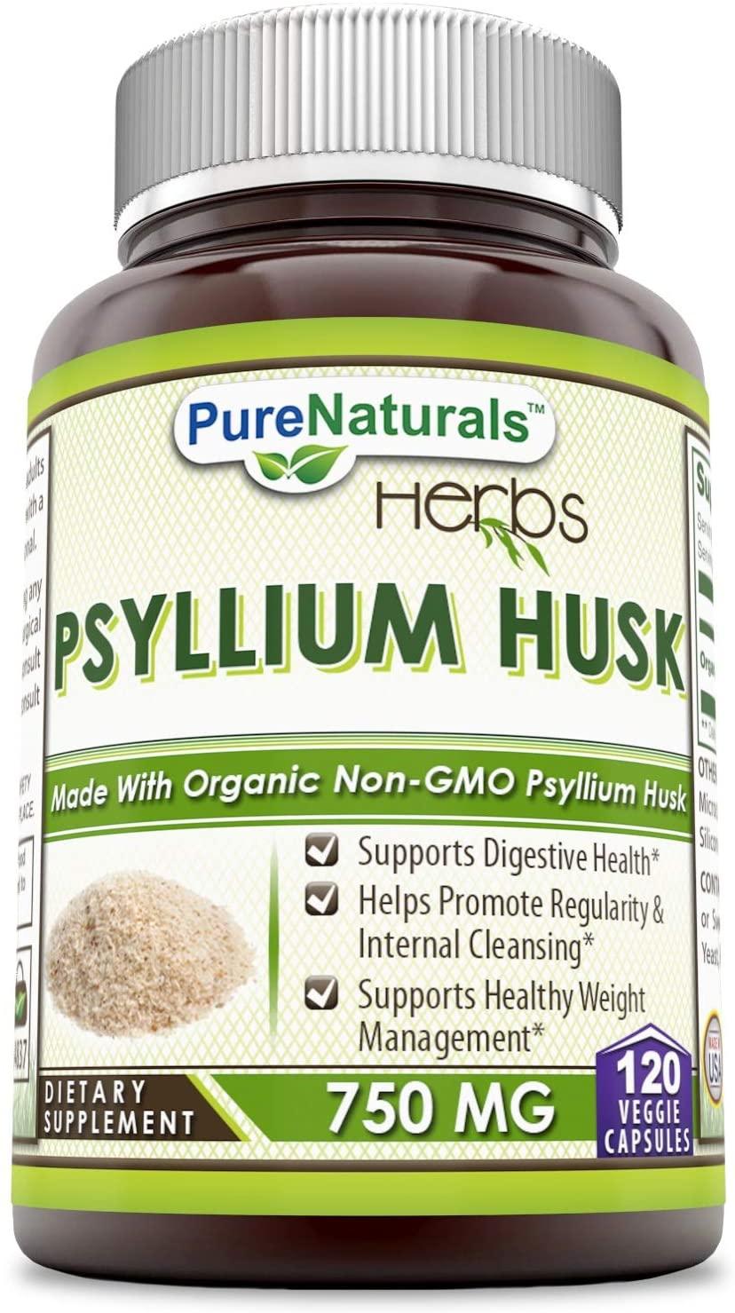 Pure Naturals Psyllium Husk 750 Mg 120 Veggie Capsules,SupportsDigestive Health, Helps Promote Regularity & Internal Cleansing, Supports Healthy Weight Management