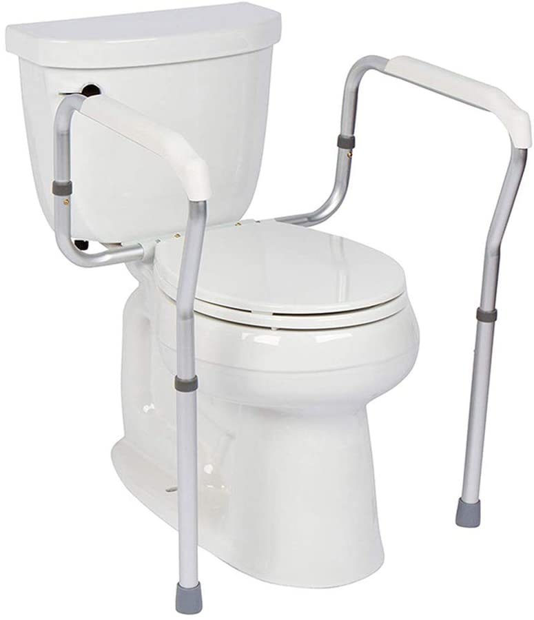 GFYWZZ Toilet Safety Frame, Bathroom Safety Rail with Toilet Seat Assist Handrail Grab Bar for Elderly, Adjustable Legs and Arm