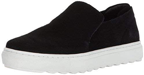 Jslides Perrie Platform Slip-On Black Soft Suede Flatform Sneaker Perry Loafer