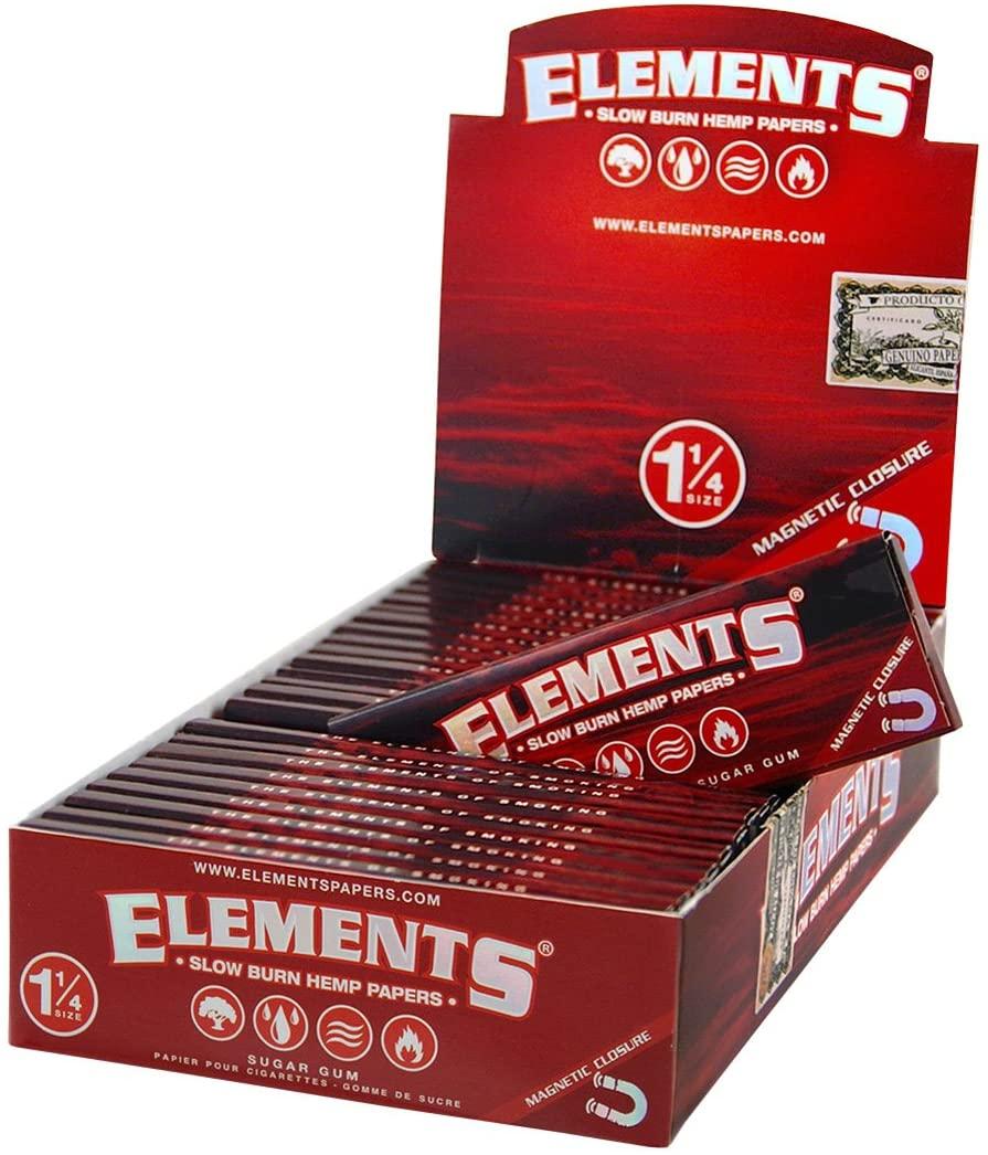 1 box - Elements RED 1 1/4 Slow Burn Hemp rolling paper + Magnetic Closure