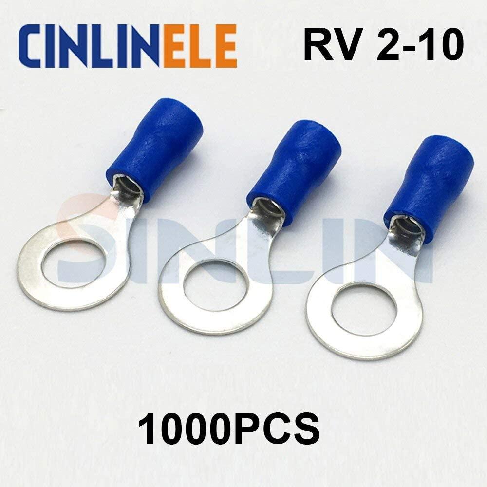 Davitu Terminals - 1000pcs Crimp Terminal RV2-10 16-14AWG 1.04-2.63mm^2 Crimp terminasl Blue Ring Termina Brass RV2.5-10