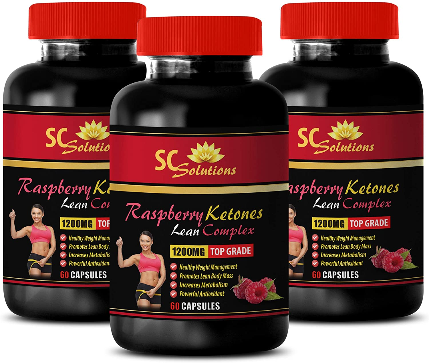 Weight Loss Natural Supplements - Raspberry Ketones Lean Complex 1200MG - TOP Grade - Raspberry Ketone Ultra with African Mango - 3 Bottles (180 Capsules)