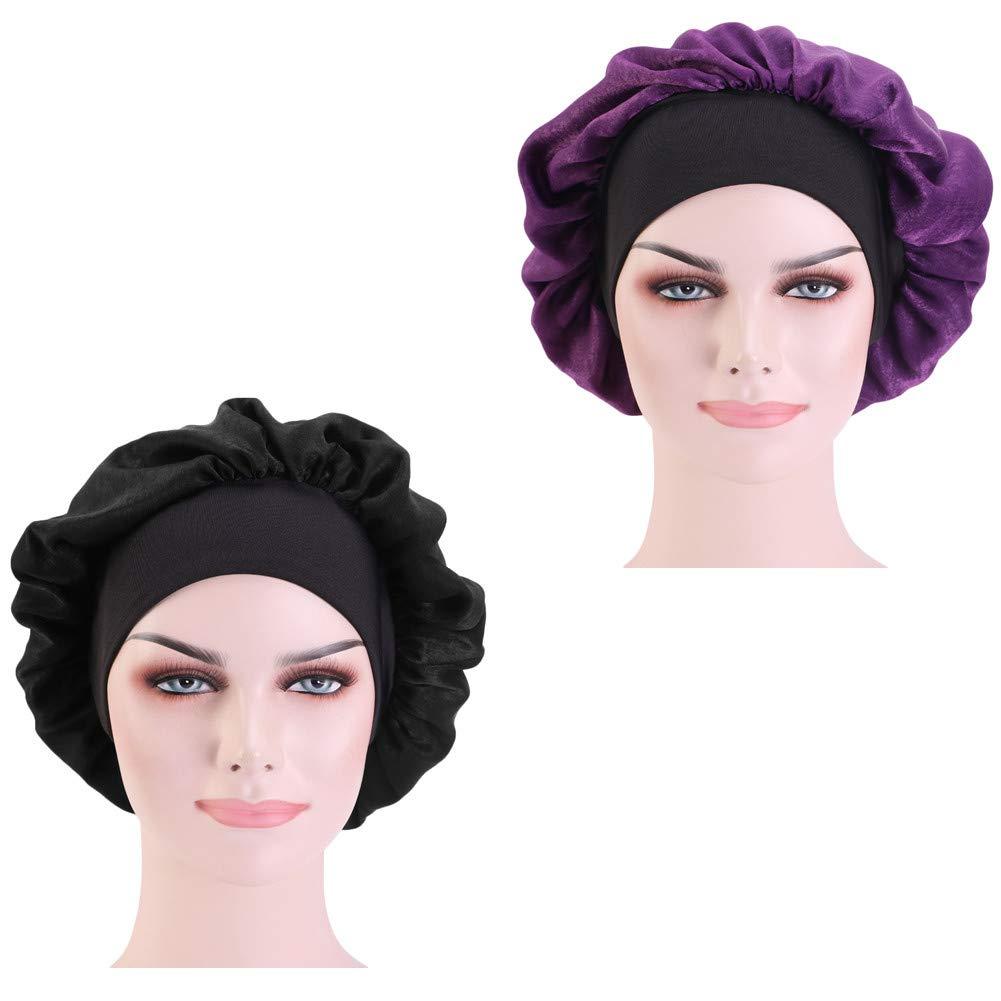 CCCHO 2 PACK Women's Solid Satin Bonnet Silk Imitation Turban Night Sleep Cap Elastic Wide Band for Hair Beauty Shower Cap Hair Care Hat (Black+Purple)