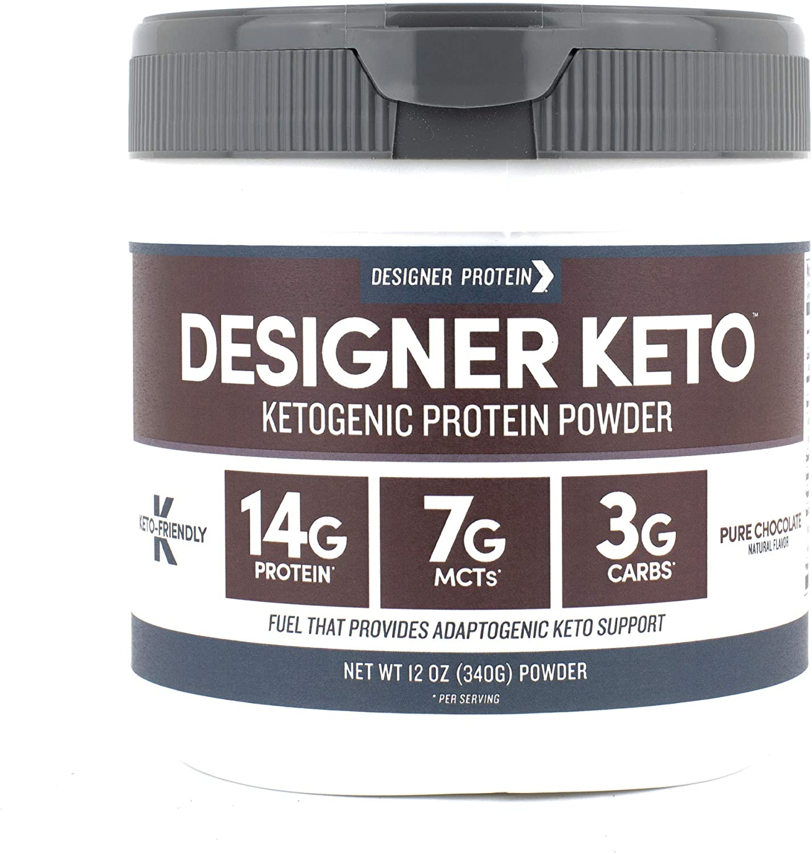 Designer Keto, Pure Chocolate, 12 Oz, Ketogenic Protein Powder, Keto Friendly,  Made in the USA