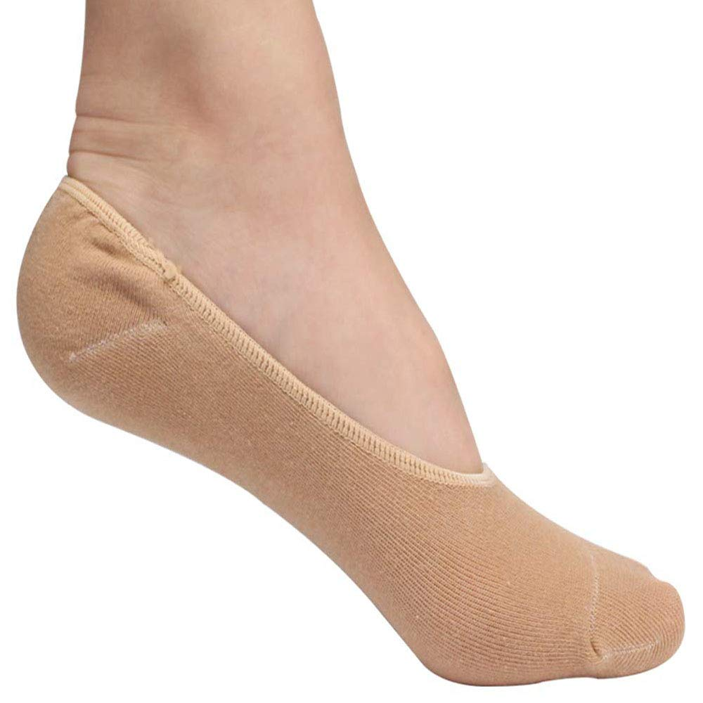 Gel No Shoe Socks – Therapeutic for Dry Cracked Feet – Relieve Heel Pain – Prevent Back Problems (Nude color)