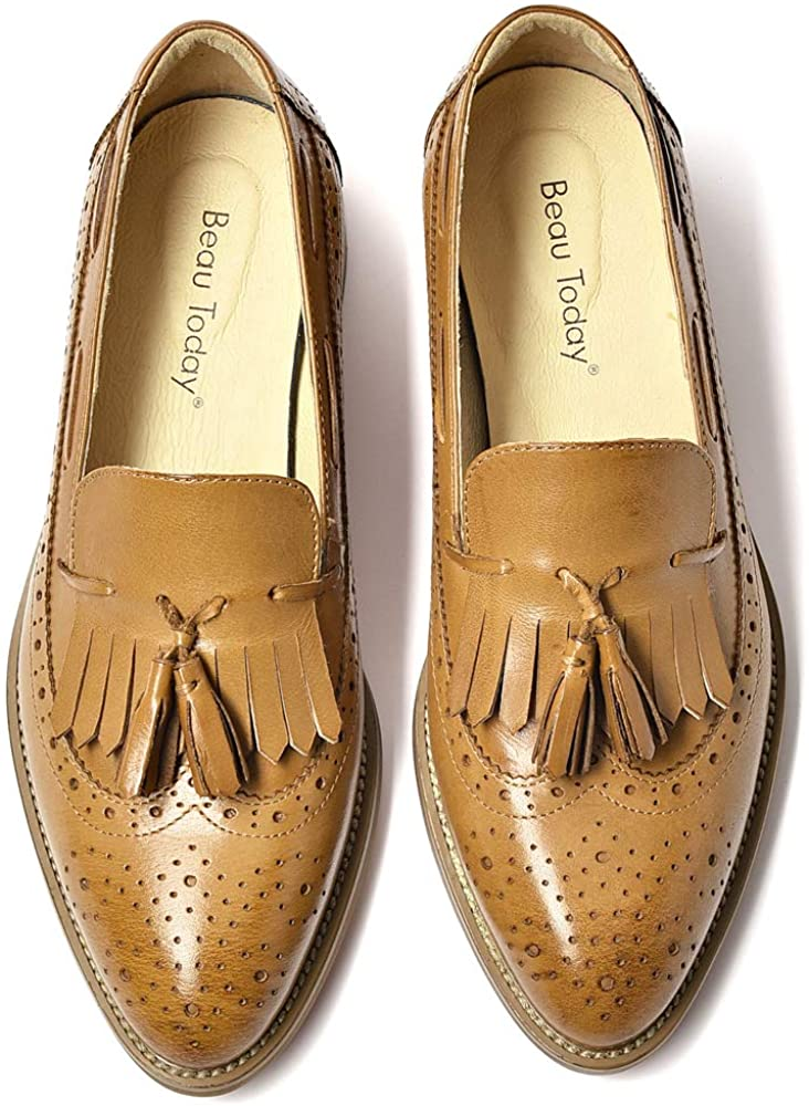 Beautoday Beau Today Women's Pointed Toes Tassel Leather Loafers
