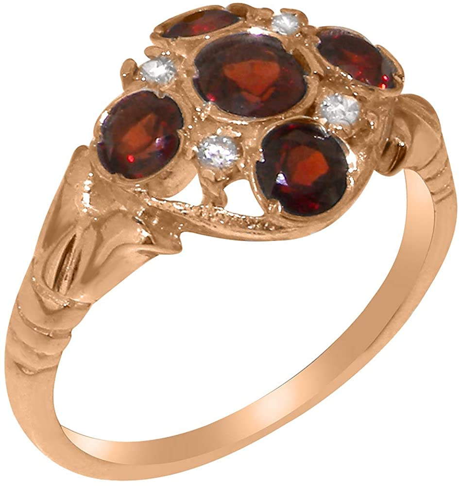 Solid 10k Rose Gold Natural Garnet & Diamond Womens Cluster Ring - Sizes 4 to 12 Available