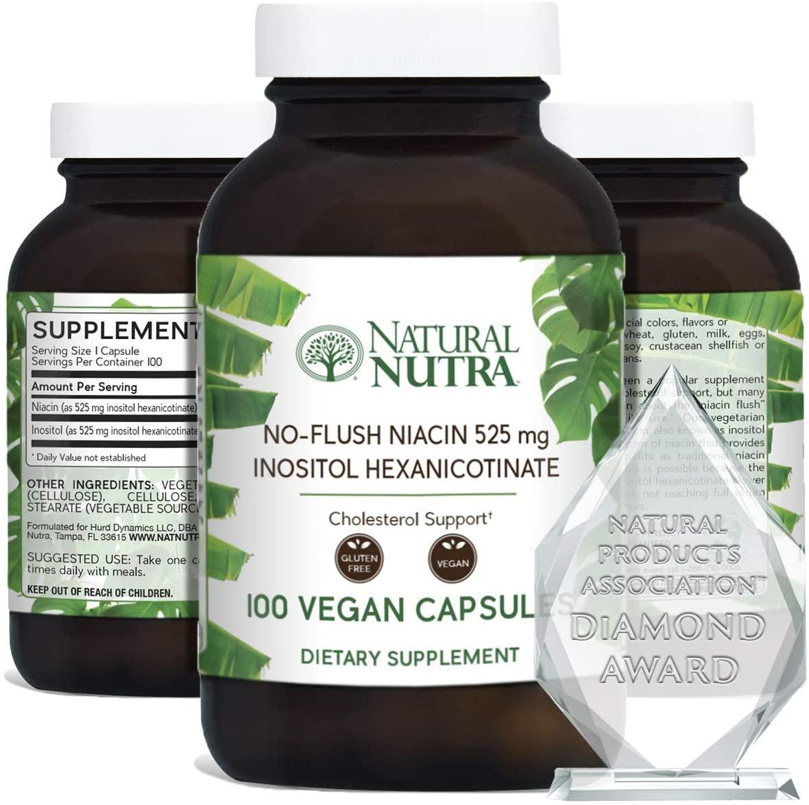 Natural Nutra No Flush Niacin (Vitamin B3) (Inositol Hexanicotinate Niacinate), Flush Free, 525 mg, 100 Vegan and Vegetarian Capsules