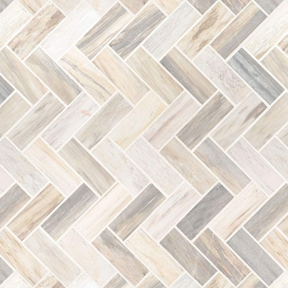Angora Herringbone Pattern Polished Mosaic Wall Tile, 8 SFT/case, (8 Pcs)