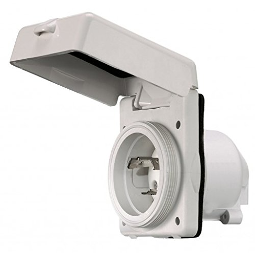 Locking Devices, Twist-Lock, Marine Grade, Hull Inlet, 30A 125V, 2-Pole 3-Wire Grounding, L5-30P, Screw Terminal, Office White