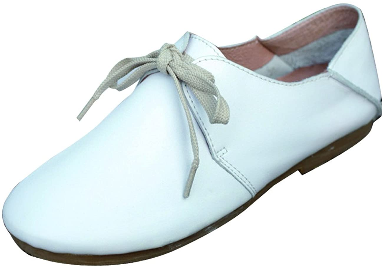 Zoulee Women's Round Toe Leather Flats Shoes Lazy Shoes