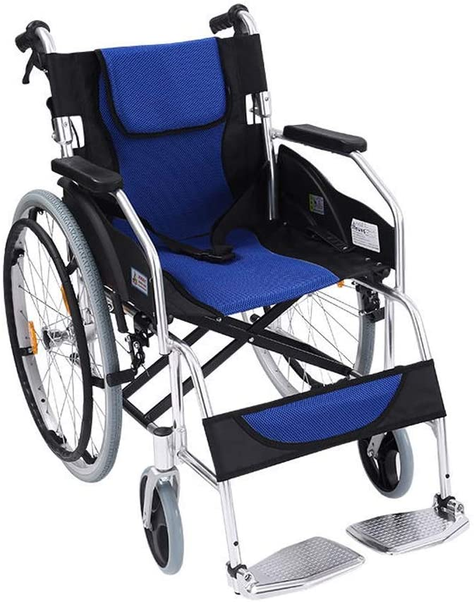 BXZ Wheelchair Foldable Lightweight Aluminum Alloy for Easy Carrying Push-Type Walker for The Elderly Disabled Folding Portable Trolley