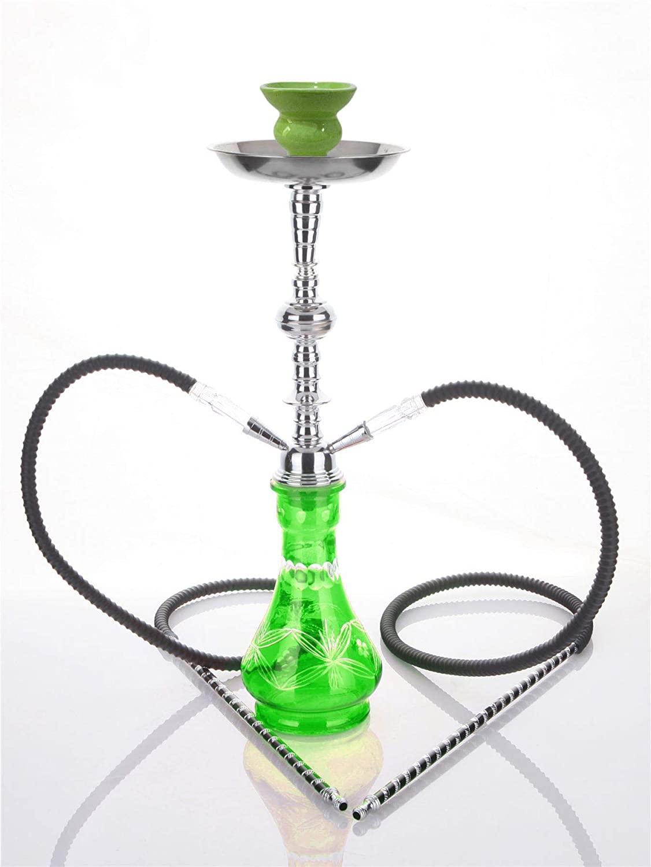 2- Hose Green Crystal Shisha Black Laser Pipe hooka - no Tobacco no Nicotine Set Best Buy Nargila - no Tobacco no Nicotine