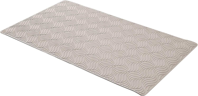 DHgateBasics Non-Slip Rubber Bath Mat with Wave Texture - Grey, 27.5 x 15.7 Inch